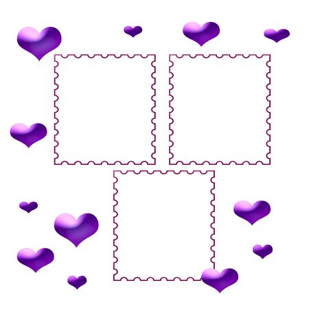 valentine purple hearts on white background scrapbook page photo