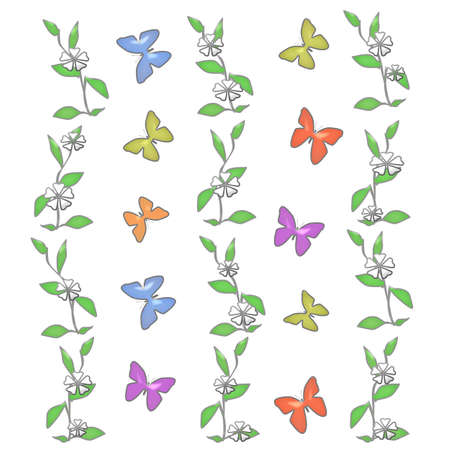 butterflies and white flowers on solid background  illustration