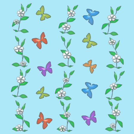 flit: butterflies and white flowers on solid background  illustration