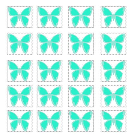 blue butterfly stamps on solid background illustration Stock Illustration - 5911750