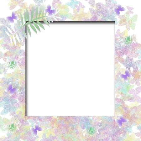 flit: pastel butterflies and white photo cutout scrapbook frame illustration Stock Photo