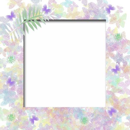 pastel butterflies and white photo cutout scrapbook frame illustration 版權商用圖片