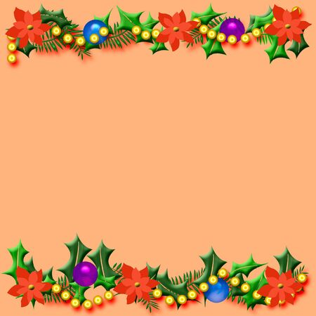 bough: Christmas frame poinsettia and holly on solid background illustration