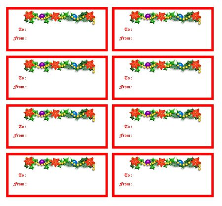 Christmas gift tags poinsettias and holly with colorful ornaments illustration illustration