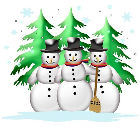 jolly snowmen in a row poster illustration illustration