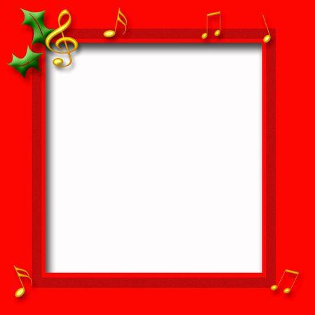 빨간색 프레임에 골드 음악 노트 크리스마스 테마