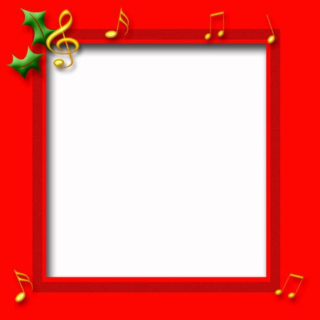 gold music notes on red frame Christmas theme