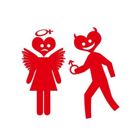 sex symbol devils offering red on white background Imagens