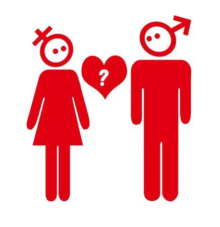red sex symbol couple valentine question illustration Stock Illustration - 6016212