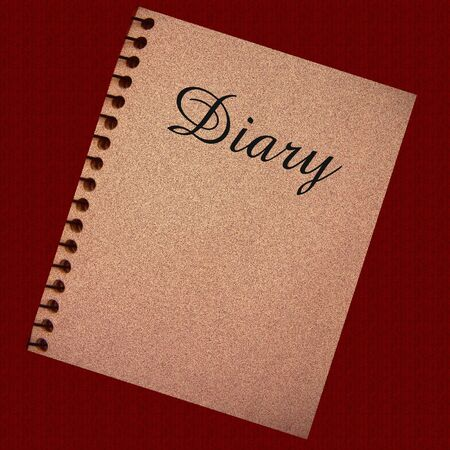diary: diary spiral notebook on dark background illustration