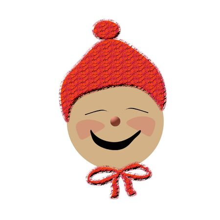 elation: smiling baby face in red winter hat illustration