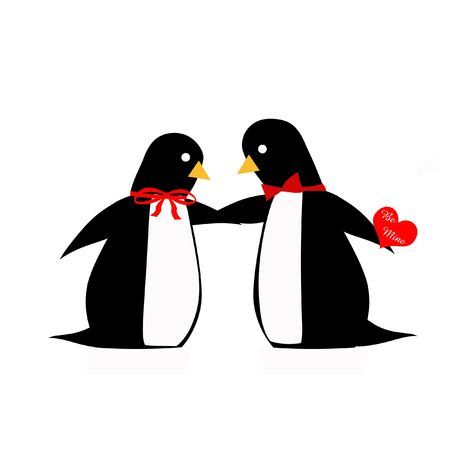 penguin couple dressed up for valentines day illustration