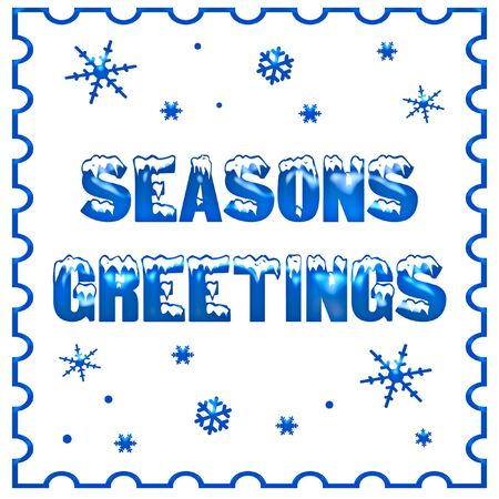 seasons greetings on white background winter illustration
