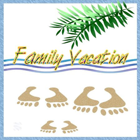 footprint sand: family vacation illustration palm fronds and footprints