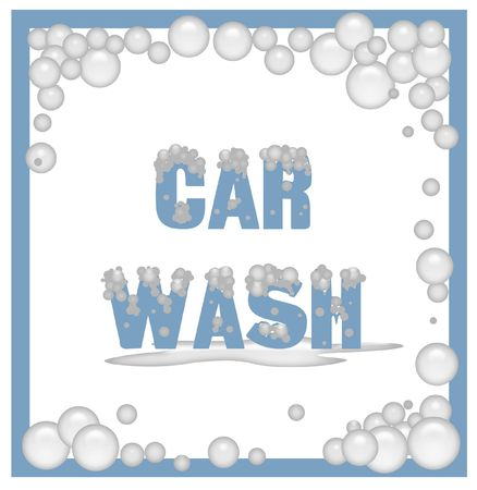 soapy: car wash poster covered in soap bubbles illustration