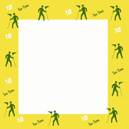 green golf flag and yellow frame scrapbook illustration