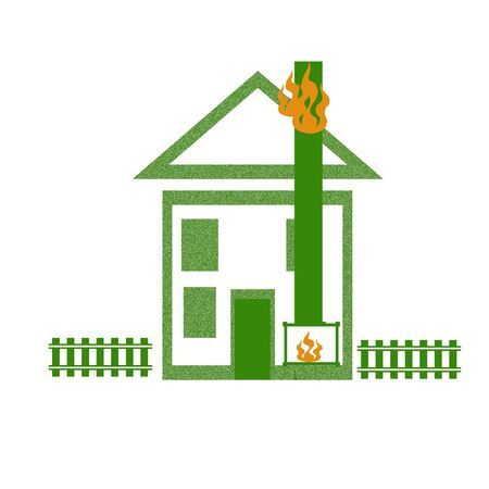 house roof on fire safety poster illustration