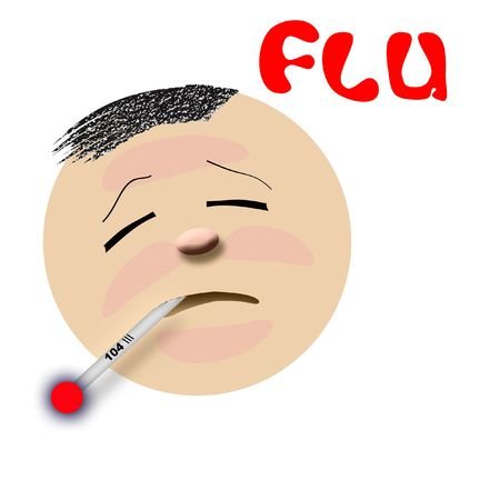 contagious: flu victim feverish with thermometer on white illustration