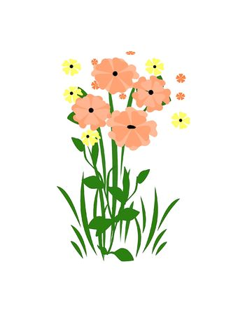 pink and yellow flowers with green leaves illustration Stock Photo