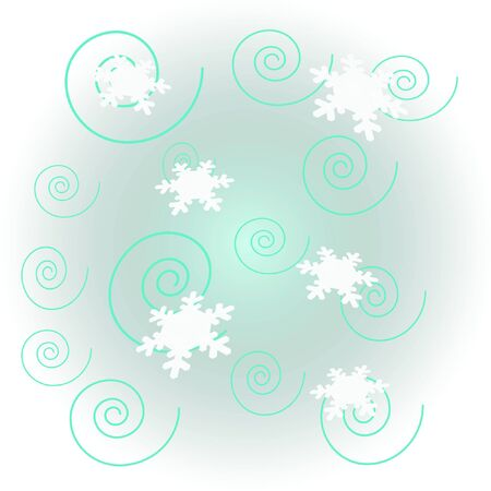 waft: white snowflakes on blue background winter illustration Stock Photo