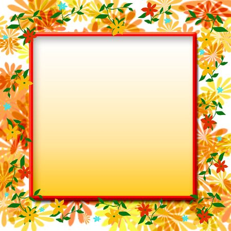 floral scrapbook frame orange yellow and green illustration Stock Photo