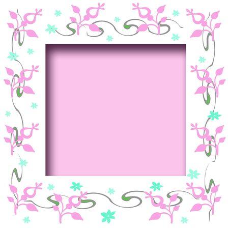 soft pink and blue flowers scrapbook frame illustration Banque d'images
