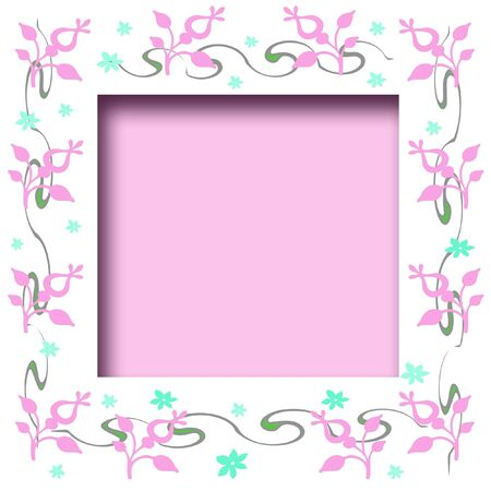 soft pink and blue flowers scrapbook frame illustration Stock Photo