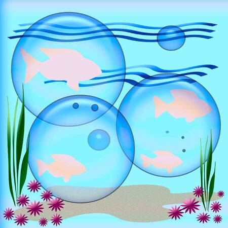 under the sea pink fish and opaque bubbles illustration illustration