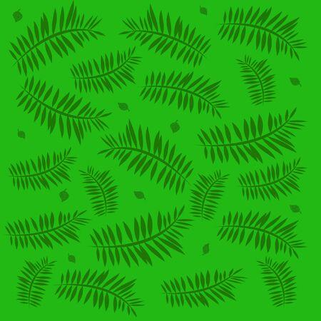 녹색 팜 fronds 및 단색 배경 일러스트 레이 션에 leafs