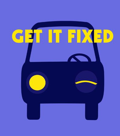 vision repair: get it fixed car repair poster blue and yellow Stock Photo