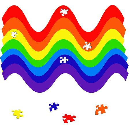 colorful wavy rainbow puzzle on white background illustration Фото со стока