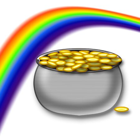 pot of gold under colorful rainbow illustration Фото со стока