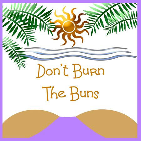 skin burns: sunbathing on the beach burn warning illustration