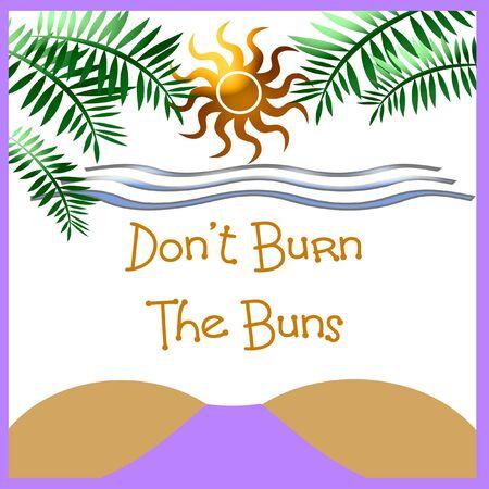 sunbathing on the beach burn warning illustration