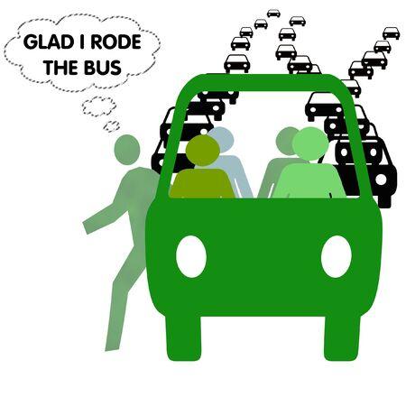 glad: passenger thinks glad for public transportation  illustration Stock Photo