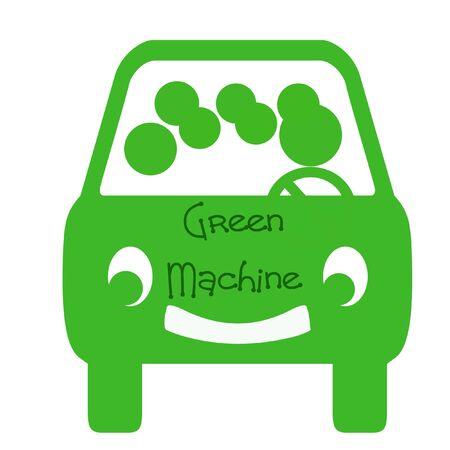 白い背景の上の乗客と緑のバス 写真素材