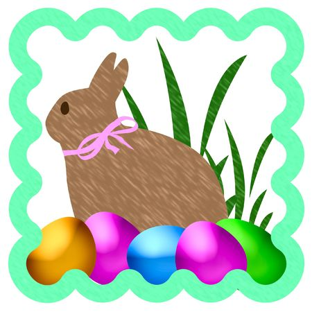 illustrated: Easter bunny with colored eggs illustrated frame