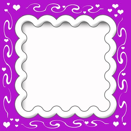 frilly: hearts and vines frilly scrapbook frame illustration