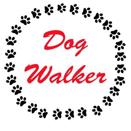 huellas de perro: signo de caminante de perro negro huellas alrededor de palabras rojos Foto de archivo