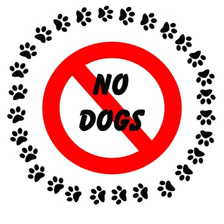 no dogs sign black footprints around red words