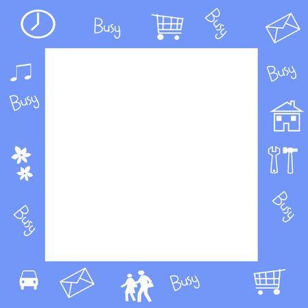 assorted everyday symbols frame blank center illustration Stok Fotoğraf