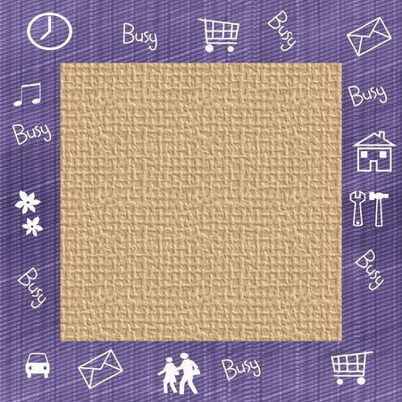 assorted everyday symbols frame blank center illustration Imagens
