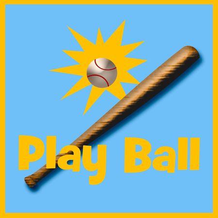 野球、バットの青および金の図 写真素材