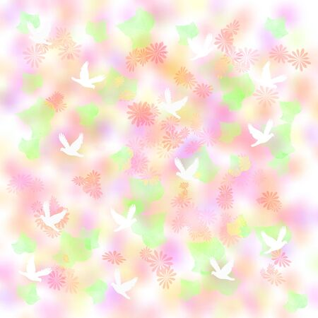 white doves and pale flowers background illustration Stock Photo