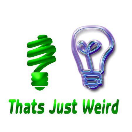 two light bulbs on white background humor illustration