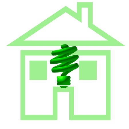 cf: green CF compact fluorescent light and house illustration