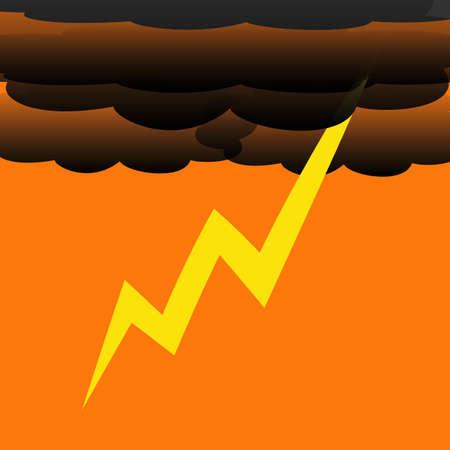 lightening: dark thunder clouds and flashing lightening illustration Stock Photo