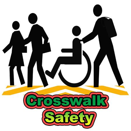 crosswalk: people in a crosswalk poster assorted colors illustration
