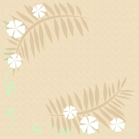 white flowers and green vine scrapbook frame illustration