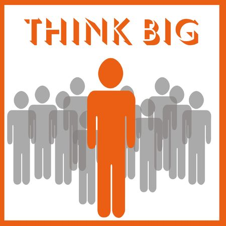 accomplish: large figure standing with smaller figures illustration think big poster